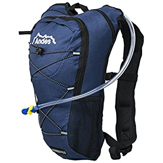 Andes 2 Litre Navy Blue Hydration Pack/Backpack Running/Cycling with Water Bladder/Pockets
