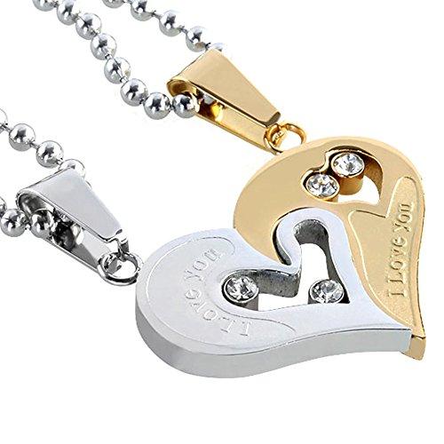 PiercingJ - 2PCS Bijoux Collier Pendentif Puzzle Coeur Separable Detachable Cristal Strass Acier Inoxydable Amitié Amoureux Couple Avec 2 Chaines