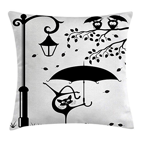 ow Cushion Cover, Funny Kitty with Umbrella Dancing Under Street Lantern in Town Urban Humor Print, Decorative Square Accent Pillow Case, 18 X 18 Inches, Black White ()