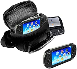 Orzly® Game & Console Travel Bag for Sony PSP Consoles (GO/VITA/1000/2000/3000) + Shoulder Strap + Carry Handle + Belt Loop - Black