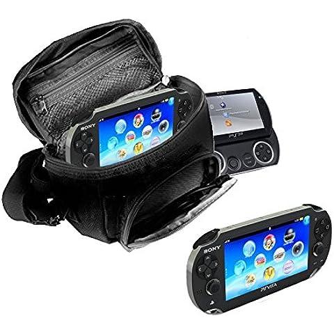 Orzly® - FUNDA para SONY PSP (GO/VITA/1000/2000/3000) - Funda para Consola, Juegos y Accessarios . Bolso incluye: Correa para el Hombro Ajustable + Llevan la Manija + Fijación a un Cinturón -