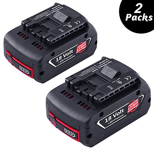 2X Dosctt pour Bosch BAT609 18V 4.0Ah Li-ion Remplacement Batterie 1600A002U5 BAT621 BAT609 BAT609G BAT610G BAT618G BAT618 BAT619 BAT619G BAT620(New Version With LED Indicator)