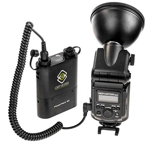Kit-Genesis-reporter-360-pi-battery-pack-4500mAh-per-450-flash-a-piena-potenza-flash-da-360W-HSS-con-parabola-da-12cm-ibrido-tra-flash-da-slitta-e-flash-da-studio