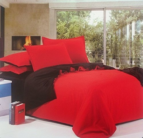 Dexim Exclusive Solid Poly Satin 4 Piece Bedding Set with Reversible Duvet...