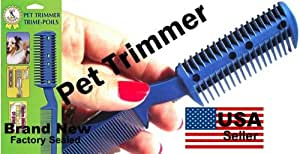 Pet Cat Hair Trimmer Grooming Comb 2 Razor Cutting