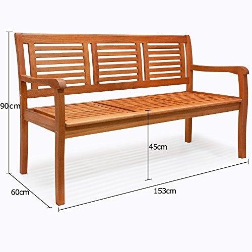 Holzbank Sitzbank Gartenbank Parkbank Balkonbank Bank 3 Sitzer ✔FSC®-zertifiziertes Eukalyptusholz ✔ergonomisch ✔witterungsbeständig ✔153cm x 90cm x 60cm - 4