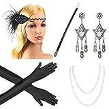 Beelittle 1920s Accesorios Set Diadema, Collar, Guantes, Porta-Cigarrillos Great Gatsby Disfraces Set para Mujeres (G9)