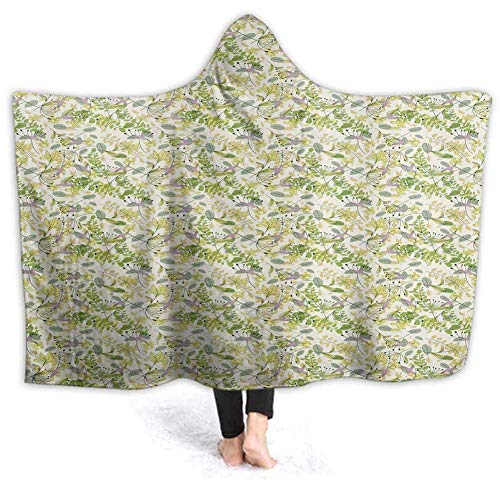 Shotngwu Hooded Blanket Pastell Spirituelle Print Soft Throw Wrap tragbare Decken Neuheit Cape für Kinder Erwachsene 50W by 40H Zoll (mit Kapuze)