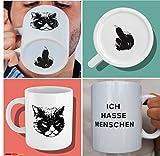 Witzige Kaffee-Tasse mit Katzen-Motiv und Spruch