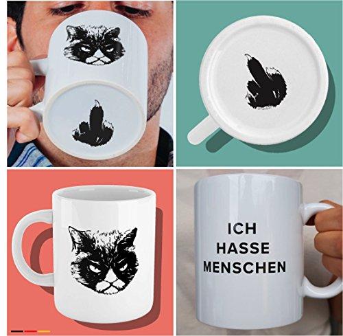 Witzige Kaffee-Tasse mit Katzen-Motiv und Spruch 'Ich hasse Menschen' - weiße Katzen-Tasse mit...