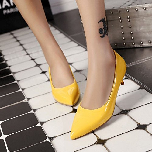 COOLCEPT Femmes Mode Sexy Talons de Chaton Escarpins for Soiree Mariage Robe Jaune