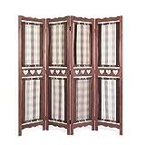 Homestyle4u 4 fach Paravent Raumteiler Holz Trennwand spanische Wand Sichtschutz Raumtrenner