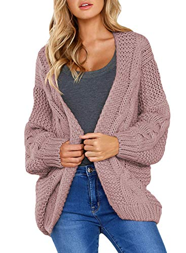 Aleumdr Cardigan Strickjacke Damen Grobstrick Oversize Cover Up Patchwork Strickmantel...