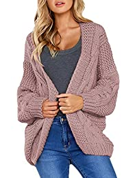 Aleumdr Strickjacke Damen Grobstrick Strickmantel strickcardigan Damen Herbst Winter Casual Open Front Sweater Cardigan Cover Up Patchwork Outwear S-XXL