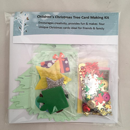 Childrenu0027s Christmas Tree Card Making Kit Makes 4 Cards, Includes Cards  U0026 Envelopes, Embellishments