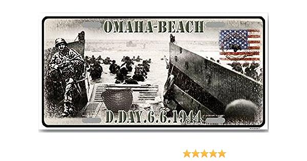 PLAQUE MÉTAL  DEBARQUEMENT GUERRE 1944 OMAHA BEACH  30 X 20 CM