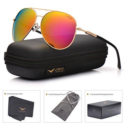 LUENX Damen Sonnenbrille Aviator Polarisiert mit Etui - UV 400 Schutz Spiegel Rot Linse Gold Rahmen 60mm (Jugend-rahmen)