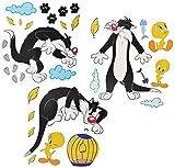 Unbekannt 33 TLG. Set XL Wandtattoo Looney Tunes - Wandsticker Vogel Tweety + Katze Sylvester / Aufkleber Wandaufkleber - selbstklebend für Wohnzimmer und Kinderzimmer ..