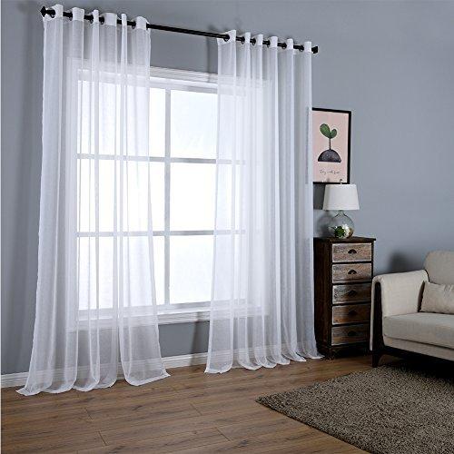 Dreaming Casa Zwei scheibenelementen massiv Vorhänge, Gardinen Vorhänge, Polyester-Mischgewebe, weiß, Grommet Top-2*(52