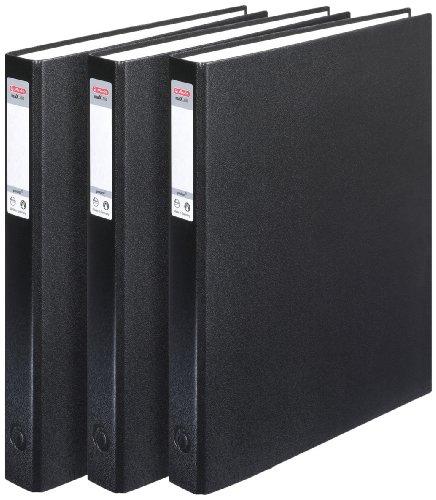 Herlitz 1913821 Ringbuch A4 PP 2-Bügel , 24 mm, 3er Pack, Farbe schwarz