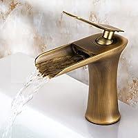 SADASD Grifo de Lavabo Europeo para baño de Cobre, Cascada de Bronce, válvula de