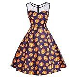 VEMOW Ausverkauf Angebote Frau Kostüm Mode Halloween A-Linie Spitze Kurzarm Party Casual Täglichen Vintage Kleid Abend Party Kleid(X2-Orange 2, EU-40/CN-XL)