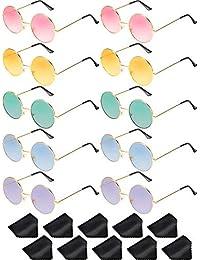 93a1f27644b07 Blulu 10 Paar Runde Hippie Sonnenbrille John 60's Stil Kreis Farbige Gläser