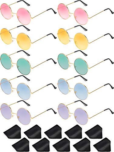 5f550e08424e 10 Pairs Round Hippie Sunglasses John 60 s Style Circle Colored Glasses ( Gold Frame)