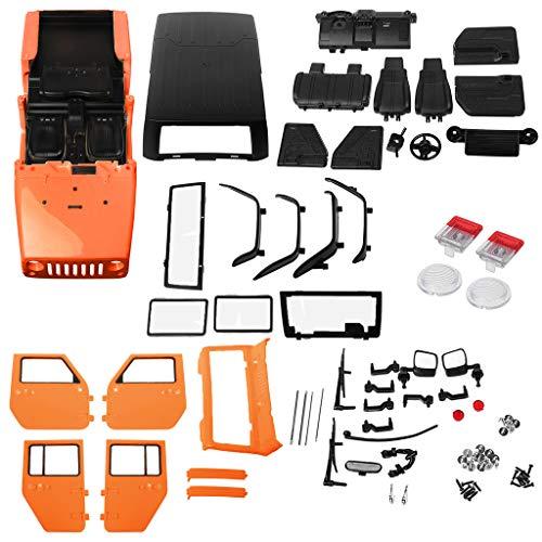Qiuxiaoaa RC-Shell-Gehäuse 1/10, 313mm Radstand RC-Karosserie, Kunststoff für 1/10 RC-Car-Jeep-Wrangler-Axial-SCX10-II 90046/90047 TRX4-Kit, (Orange)