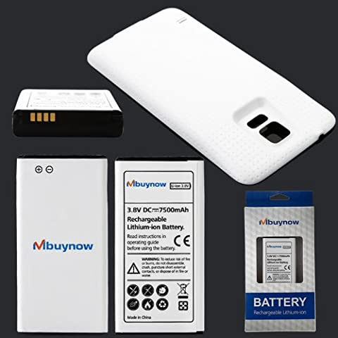Mbuynow® Batterie 7500 mAh Lithium-Ion + Cache Batterie Couleur Blanc pour Samsung Galaxy S5 i9600