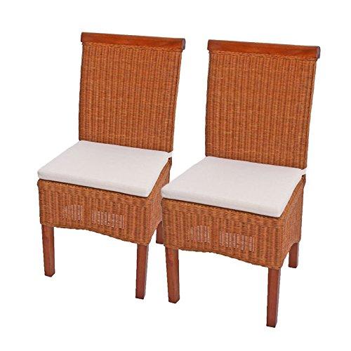 Rattan, Ohne Armlehnen Stuhl (2x Esszimmerstuhl Korbstuhl Stuhl M42, Rattan ~ mit Sitzkissen)