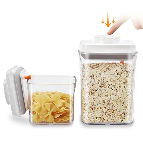Dispensador de cerealesAnkou,sin BPA, recipientes herméticos de almacenamiento de alimentos, jarra para espaguetis, café y terrones de azúcar, set de 2, plástico, AS 1.5 L + 0.5 L