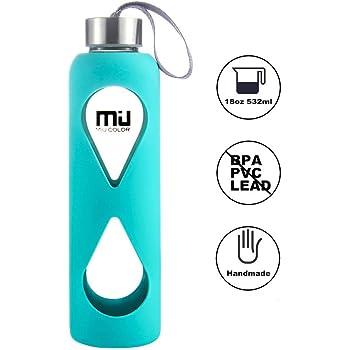MIU COLOR® 550ml Glasflasche trinkflasche mit Silikonhülle BPA-frei (Blau)