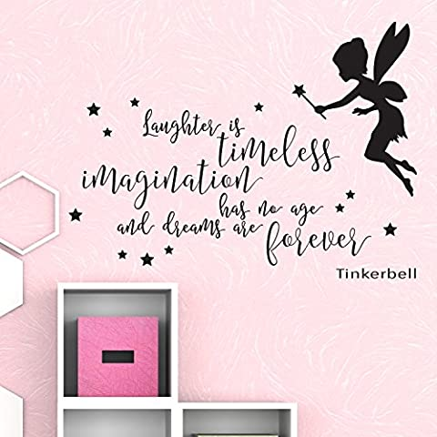 V&C Designs (TM) Tinkerbell Laughter is Timeless V2 Fairytale Children's Wall Sticker Wall Quote Lettering Vinyl Decal Mural Transfer Baby Nursery Children's Bedroom Toddler Room Playroom Decoration Wall Decor Boys Room Girls Room Various Colours Available