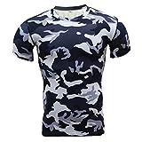 Camiseta Hombres, ❤️ Manadlian 2018 Camisa de hombre camuflaje Aptitud Deportes Gimnasio Camisa atlética Parte superior Blusa (CN:S, Negro)