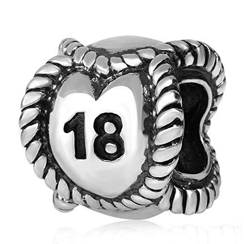 Charm-Anhänger zum 18. Geburtstag, Sterling-Silber, Glückszahl, für Pandora-Charm-Armband 18A (Pandora Charm Zahl)