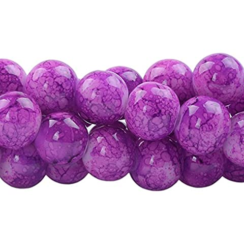 RUBYCA 6mm 2 Strands Czech Glass Round Beads Purple Painted Colored String for Jewelry Making by RUBYCA