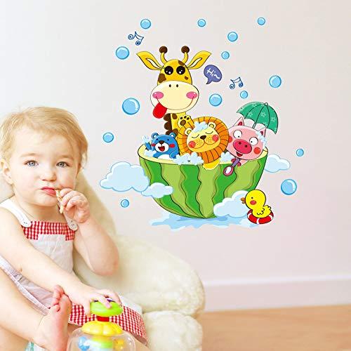 XCGZ Wandsticker Cartoon Tiere Im Bad Wandaufkleber Für Kinder Baby Zimmer Badezimmer Dekoration Decals Tapete Dusche Wandaufkleber