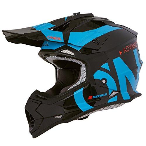 O'Neal 2Series RL Slick Motocross Helm MX Enduro Gelände Quad Cross Motorrad Bike Schutz, 0200-SAdult, Farbe Schwarz Blau, Größe M