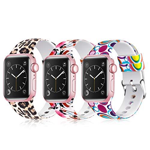 JLELE para Apple Watch 38mm 42mm 40mm 44mm Correa, Soft Silicona Estilo Deportivo Reemplazo Wristband Pulseras para iWatch Series 4 3 2 1 (38mm/40mm, Z-3 Pack G)