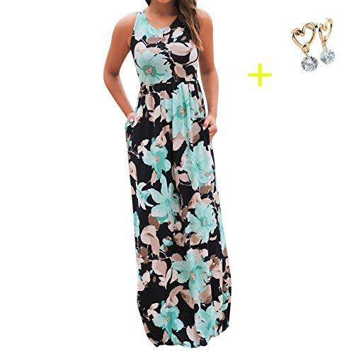 Damen Kleider Frauen Dress Sommerkleider Vintage Boho Maxikleid Ärmelloses Beiläufiges Strandkleid Blumenkleid Abendkleid Floralen Druck Minikleid Partykleid Cocktailkleid (3XL, Sexy Blau)