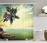 gwegvhvg Beach Shower Curtain Hawaiian Decor Palm Tree Rocky Shore Caribbean Mist Luna di Miele Resort itinerante Scenic Sun Rays Immagine con Verde Lungo