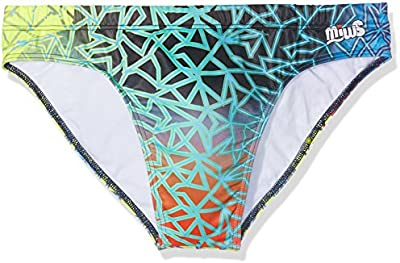 Miws Trencadis - Bañador de natación para hombre, color azul/verde/amarillo