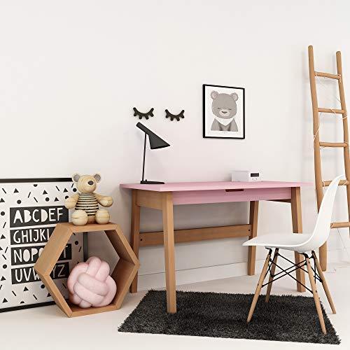 XXL Colorland Schreibtisch aus Buche und MDF mit Öffnung für Tablet oder Handy und Schublade, Kindertisch für Mädchen und Junge in skandinavischem Stil, Moderne Tisch für Kinderzimmer (Rosa) -