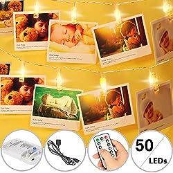 TBoonor Foto Lichterkette 50 Leds 5M LED Fotolichterkette Fernbedienung Led Clip Lichterkette Batteriebetriebene LED Foto Lichterkette für Zimmer deko, Haus, Weihnachten, Hochzeit, Schlafzimmer