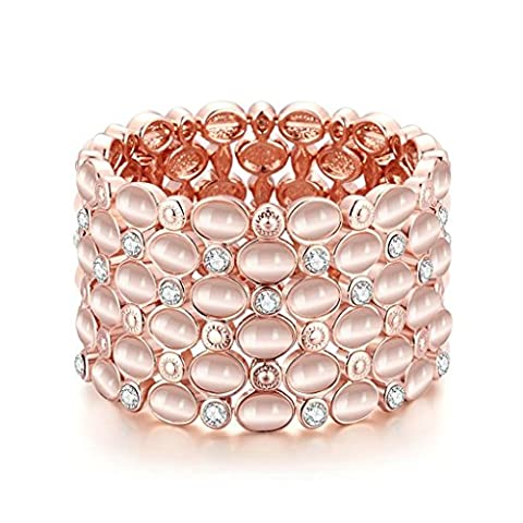 AMDXD Jewerly Gold Plated Women Charm Bracelet Rose Gold Oval Round CZ ,as Best Gift