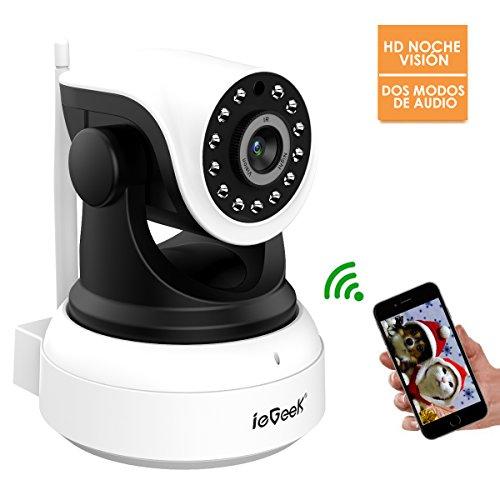 Cámara IP, ieGeek 720P HD visión nocturna cámara de seguridad,dos modos de audio,detección de movimiento,cámara para bebés y mascotas,camara de vigilancia para vivienda,Soporta 64G Tarjeta SD y ONVIF