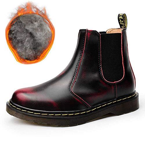 NASONBERG Herren Damen Chelsea Boots Kurz Leder Stiefel Warme Gefüttert Stiefeletten Winterschuhe,Rot/Warm gefüttert,45 EU