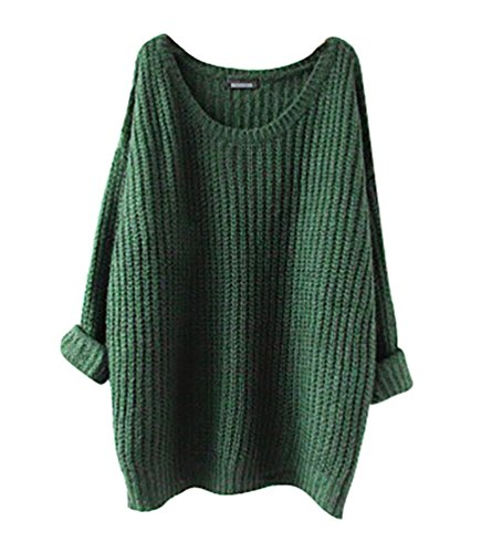 YouPue Casual Femmes Pull En Vrac Manches Longues Col Rond Section Mince Pull Sweater Casual Tricot Chandail Tops Blouse Automne Et Hiver Vert