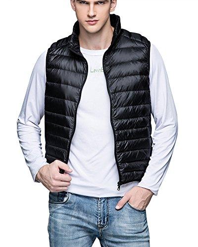 Preisvergleich Produktbild Herren Leicht Schlank Atmungsaktiv Weste Ärmellos Mantel Einfarbig Reißverschluss Jacke Schwarz L